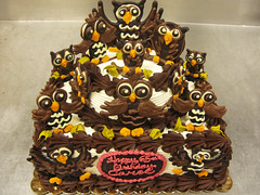 """Chocolate Owl Parliament 2 Tiered Birthday Cake by Tony """"Tone Tone"""" Albanese (The Pastryarch) Tags: 2 cake all natural chocolate parliament tony owl anthony freehand piping tone owls tiered byhand albanese tonetone cakeboss tonyalbanese"""