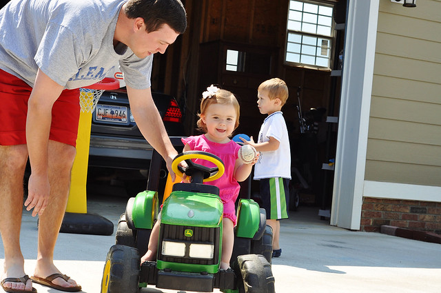 lael driving the tractor