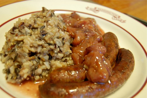 Roated Lamb Sausages with Grapes
