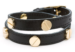 CK Skye Double Wrap Leather Screw Bracelet