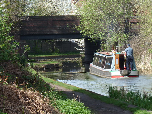 Canal barge going under Garratt's Lane Bridge on the Dudley No. 2 canal