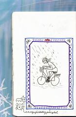 A rainy day on the bike! (Seayard) Tags: moleskine rain bike cat kat regn cykel sketchdiary arainyday skitsedagbog moleskinecahair