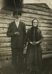 """Russian Gothic"" (my great grandparents) (Yaroslav Gerzhedovich) Tags: old portrait bw wall vintage wooden russia gothic retro photograph grandparents 30s vilage"