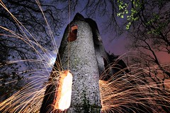 Burn-out (quornflake) Tags: longexposure moon lightpainting fire ruins spooky sparks scavchal
