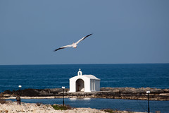 Blue & white (Theophilos) Tags: blue sea white church nature pelican crete georgioupoli