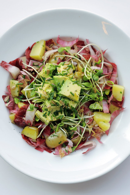 Avocado, Potatoes and Red Chicory