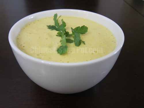 [Photo-Bowl of Creamy Pumpkin Corn Soup]