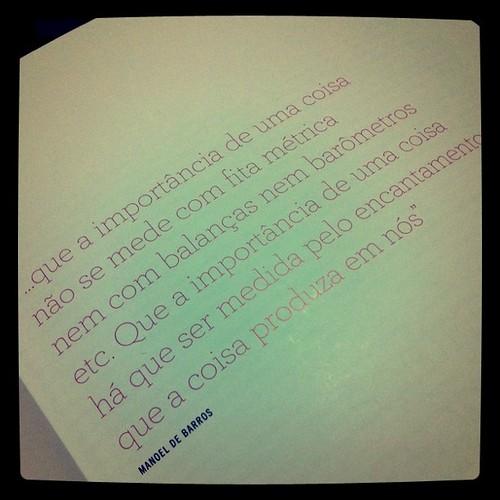 """""""Que a importância de uma coisa há que ser medida pelo encantamento que a coisa produza em nós"""" Manoel de Barros"""