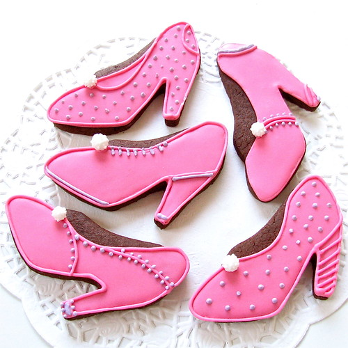 Girly Iced Shoe Biscuits