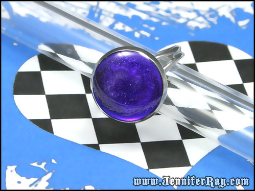 Royal Purple Ring - Resin Glittery Adjustable Silver toned by JenniferRay.com