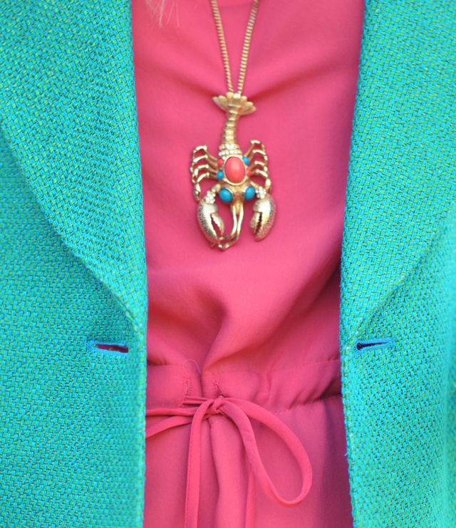 vintage coral &  turquoise  gold lobster pendant necklace