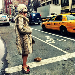 """Waiting For an Imaginary Limo That Will Never Come"" (antonkawasaki) Tags: nyc portrait woman newyork sunglasses highheels traffic candid cab taxi streetphotography hairdo furcoat poofy animalprint iphone4 iphoneography mobilephotogroup"