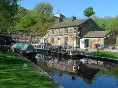 Tunnel End Cottages (jrw080578) Tags: trees buildings reflections boats canal yorkshire tunnel narrowboats huddersfieldnarrowcanal canalsidehouse