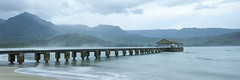 Hanalei Pier: Cool Morning (click click neil) Tags: morning blue sea people mountains beach water clouds hawaii bay pier fishing sand waves earlymorning spray kawaii hanaleipier hanalei
