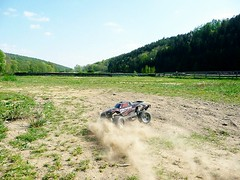 Backward Drift (mastergery) Tags: road new test cars nature electric speed radio fun outdoors drive high jumping model track control offroad 4x4 4wd off racing downhill vehicles dirt rc jumps awd stampede offroading stunt traxxas backflip 2011 pede brushless vxl rtr