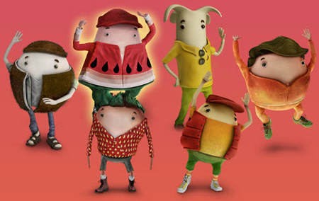 Pink background with six computer-animated fruit characters. Clockwise, they are a coconut, a watermelon, a banana, a peach, a mango and a strawberry; each has a face/body in the shape of the fruit they represent, two little black-and-white eyes focused on the camera, and clothes in the colors and patterns of their fruit. Tiny, human-like limbs wave and give thumbs-ups, as a group of human friends might in a picture.