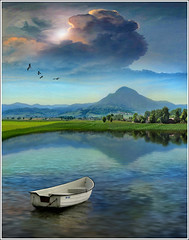 Green line (Jean-Michel Priaux) Tags: mountain france nature photoshop painting landscape boat fishing reflect alsace paysage greenline vosg