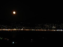 THE LINE OF THE NIGHT (dimitra_milaiou) Tags: life summer sky moon black water night port dark landscape island greek lights europe view sony hellas greece moonlight summertime split emotions ports samos dimitra dscp93a   aigaio  milaiou