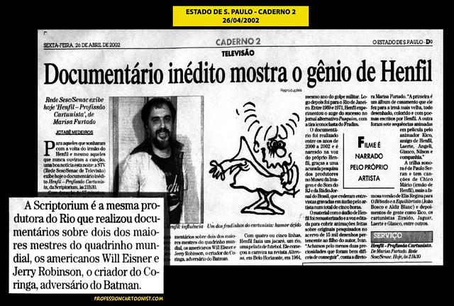 """""""Documentário inédito mostra o gênio de Henfil"""" - Estado de São Paulo - 26/04/2002"""