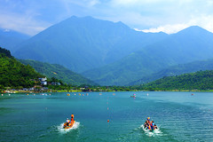 (nodie26) Tags: mountain lake color water pool canon boat scenery tour dragon lakes deep taiwan  hualien                  40d      memomotion