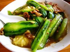 Sponge gourd with sliced pork  (Mel s away) Tags: guangzhou china food restaurant yummy chinese vegetable mel pork eat sliced veggie melinda   conghua   spongegourd   chanmelmel melindachan  spongegourdwithslicedpork