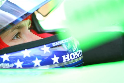 Danica Patrick focuses in practice