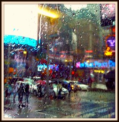 New York in the Rain (di_the_huntress~Thanks for a million views!) Tags: street nyc window rain neon activity
