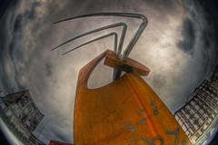 Acariciando el infinito (Asi75er) Tags: city travel sky sculpture art clouds photoshop canon eos europe arte bilbao fisheye escultura cielo elements nubes nublado infinito bizkaia basque euskalherria ria hdr euskadi vizcaya bilbo basquecountry paisvasco peleng photoshopelements erandio botxo 400d canoneos400d ringexcellence