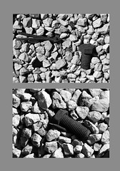 Pin & Bolts (wouldpkr) Tags: bw stone blackwhite rust diptych steel parts bolt railyard gravel cotterpin