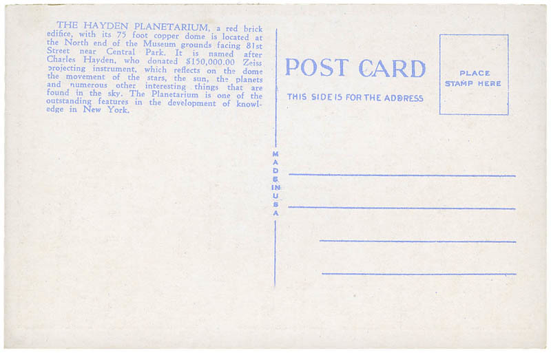 Hayden Planetarium postcard_bk_tatteredandlost
