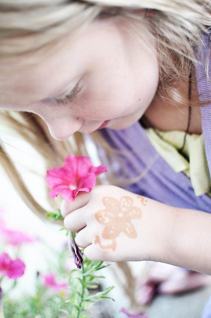 smelling petunias