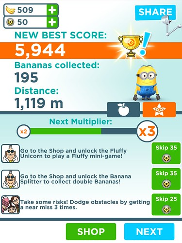 Despicable Me: Minion Rush End-game, Missions: screenshots, UI