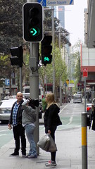 Sydney city NSW Bicycle tracks in roadway 3 (waiting at the crossing signals) (nicephotog) Tags: sydney nsw road city transport green bicycle track traffic signal lights crossing pedestrian