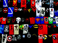 Tee Time (Steve Taylor (Photography)) Tags: superman wonderwoman hulk justiceleague captainamerica thor skull spider joker magneto ironman batman tshirt penguin art design logo symbol black blue yellow white red green newzealand nz southisland canterbury christchurch addington contrast tee
