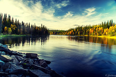 Autumn, somewhere in sweden (jforberg) Tags: 2016 are sweden water woods waterfront wonderful wood trees sky skandinavia cloudy landscape