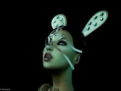 Jala is a bunny in the wood (10 MIX) Tags: lapin vert bleu noir fetish bunny fantasy langue tirerlalangue tongue lights secondlife sl