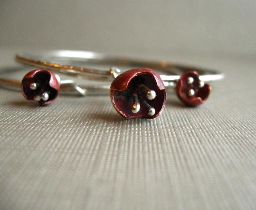 copper, sterling silver, bell, flower, bracelet, bangle, hammered, handmade, organic, industrial