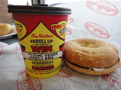 Tim Hortons Steeped Tea with Sesame bagel, Herb & Garlic Cream Cheese