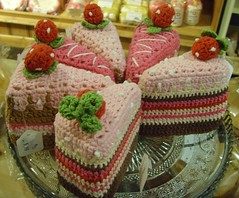 Knitted slice o'cake (Tony Worrall Foto) Tags: pink food color art wool cake shop price cakestand fun artwork funny colours sale tag knit made buy knitted sell woollen sliceofcake lowsizerghbarn slich