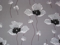 Vintage 60-70's Grey Poppies Fabric (Niesz Vintage Fabric) Tags: floral vintage grey mod 60s gray fabric poppy poppies 70s henrywadsworthlongfellow poetryinprints