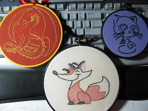 Embroidery time! A fox, a dragon and a kitty