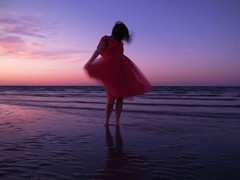 (dlemieux) Tags: ocean longexposure pink light sunset portrait woman selfportrait color beach me water self dress purple sunday dlemieux newengland diana fabric gloucester april wingaersheek 2011