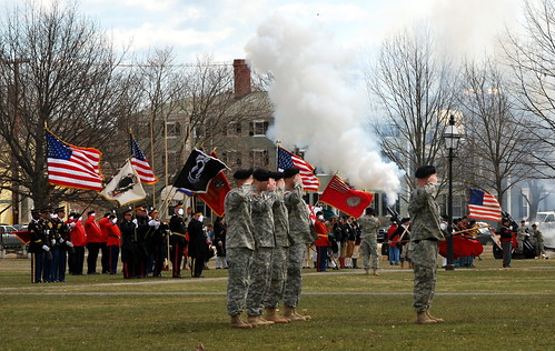 The 101st Field Artillery Salute Battery fires a 13-gun salute to honor past and present troops