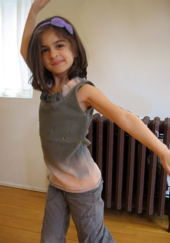 green tank top with ruffle and sparkles