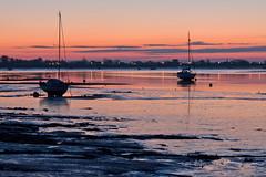 IMG_0146  Heybridge Basin Essex 05-55 am. (Jim Key) Tags: pink blue silhouette sunrise boats dawn mud lowtide maldon heybridgebasin