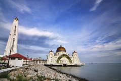 call it a day (sirman88) Tags: sunset sky seascape motion beach water architecture interestingness nikon rocky mosque tokina malaysia slowshutter melaka masjid pantai calmness f19 2011 d90 bw110 masjidselat tokina1116 sirman azmanrahman thestraitmosque