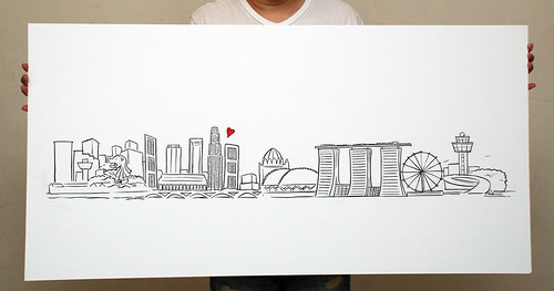 Singapore skyline simple linework illustration - 5
