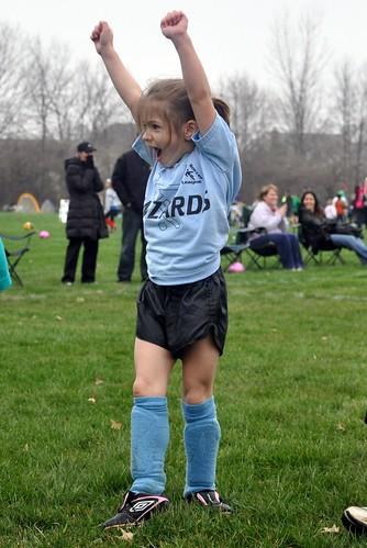 Alana celebrates a goal