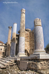 Ancient agora - Old and New (Vicky Tsavdaridou) Tags: travel blue vacation sky cloud art texture monument architecture clouds photoshop canon geotagged photography photo ancient europe hellas places athens explore greece hadrian hdr agora topaz monastiraki hellenic ancientagora photomatix     hadrianlibrary
