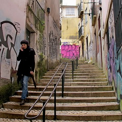 (bobbat) Tags: portugal girl square graffiti alley lisboa lisbon steps afterrain